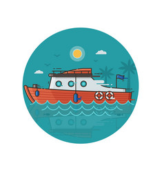 red sea yacht icon in line art vector image