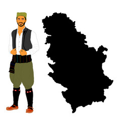 Republic serbia map man in folklore costume vector