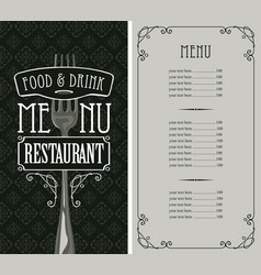 Restaurant menu with price list and fork vector