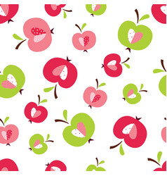 Seamless pattern with abstract cute apples vector