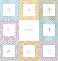Set logos and patterns for a yoga studio vector