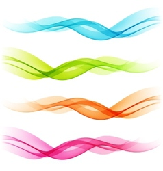 Set of Abstract color transparent curved lines vector image