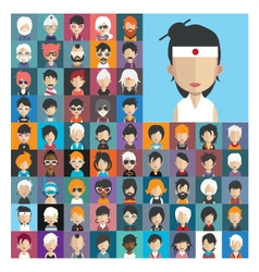 Set of people icons in flat style with faces 24 a vector image