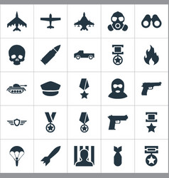 Set of simple combat icons vector