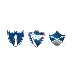 shield protection template set vector image