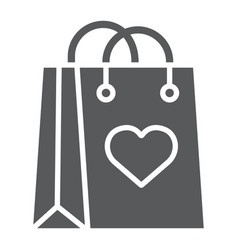 shopping bag with heart glyph icon love and vector image