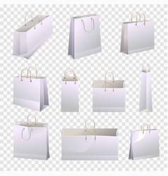 Shopping paper bags 3d models with rope handles vector