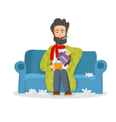 sick man sitting on the couch unhappy character vector image