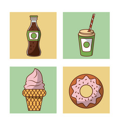 soda and dessert icons vector image