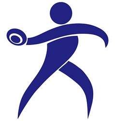 Sport icon for throwing discus in blue vector image