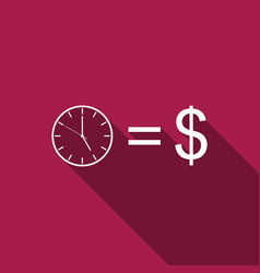 time is money sign icon isolated with long shadow vector image
