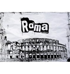 View colosseum amphitheater in rome vector