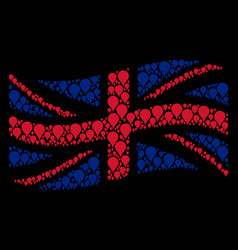 Waving united kingdom flag collage of map pointer vector