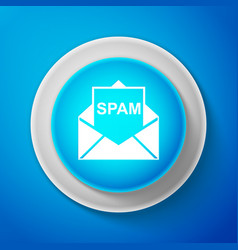 white envelope with spam icon on blue background vector image