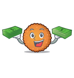 with money bag cookies mascot cartoon style vector image