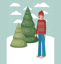 woman in snowscape with winter clothes vector image
