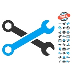 Wrenches Icon With Free Bonus vector image