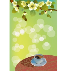 coffee or tea on a table in the summer vector image vector image