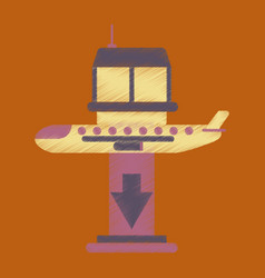 Flat icon in shading style airplane lands airport vector