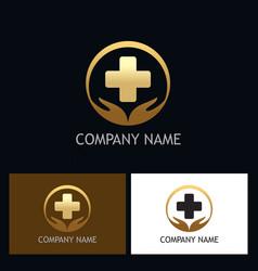gold heath care medic logo vector image
