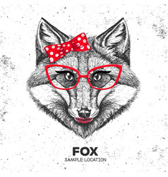 retro hipster animal fox hand drawing muzzle vector image vector image