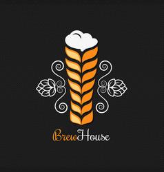 Beer glass logo design background vector