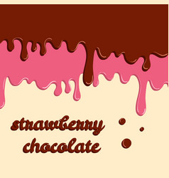 dripping donut glaze background strawberry and vector image