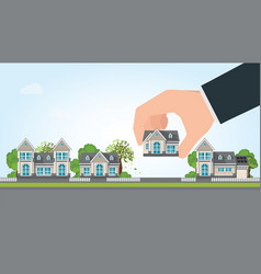 human hand select to holding a right house vector image vector image