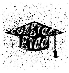 silhouette of graduation cap with lettering vector image
