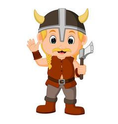 viking warrior cartoon vector image