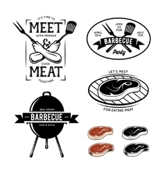 Barbecue related labels badges and design vector image