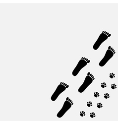 Bare foot print and paw print in the corner vector image vector image