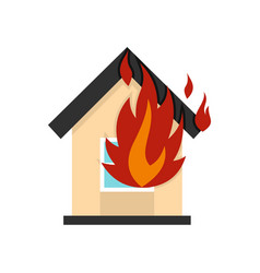 flames from house window icon flat style vector image