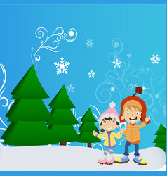 happy winter cute kids vector image
