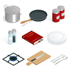 isometric set of professional kitchenware vector image vector image