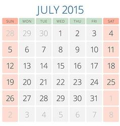 Calendar 2015 July design template vector image vector image