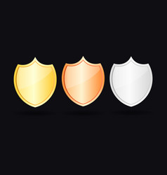 gold bronze and silver shield vector image