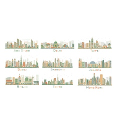 Set of 9 Abstract City Skyline vector image