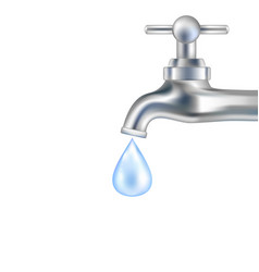 silver tap with water vector image vector image