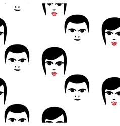Woman and man faces hipster seamless vector image