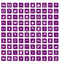 100 taxi icons set grunge purple vector image