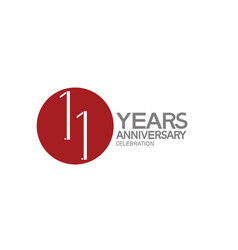 11 years anniversary logotype design with big red vector