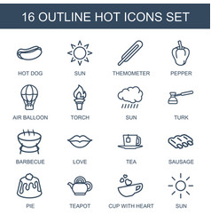 16 hot icons vector image