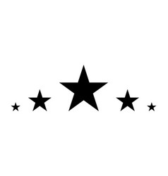 5 stars black star in flat style star icon vector image