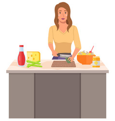 a young woman is cooking in kitchen the girl vector image