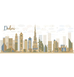 Abstract Dubai City skyline vector image