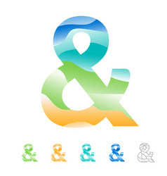 Ampersand sign set for advertising vector
