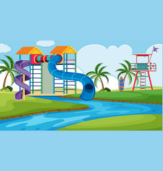 an outdoor scene with water park vector image