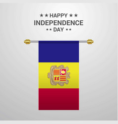 Andorra independence day hanging flag background vector
