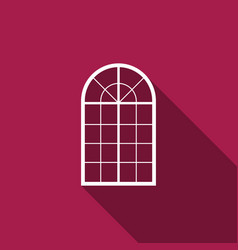arched window icon isolated with long shadow vector image